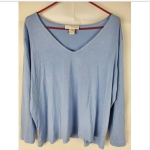 Doncaster Blue Silk Blend XL Stretchy Top